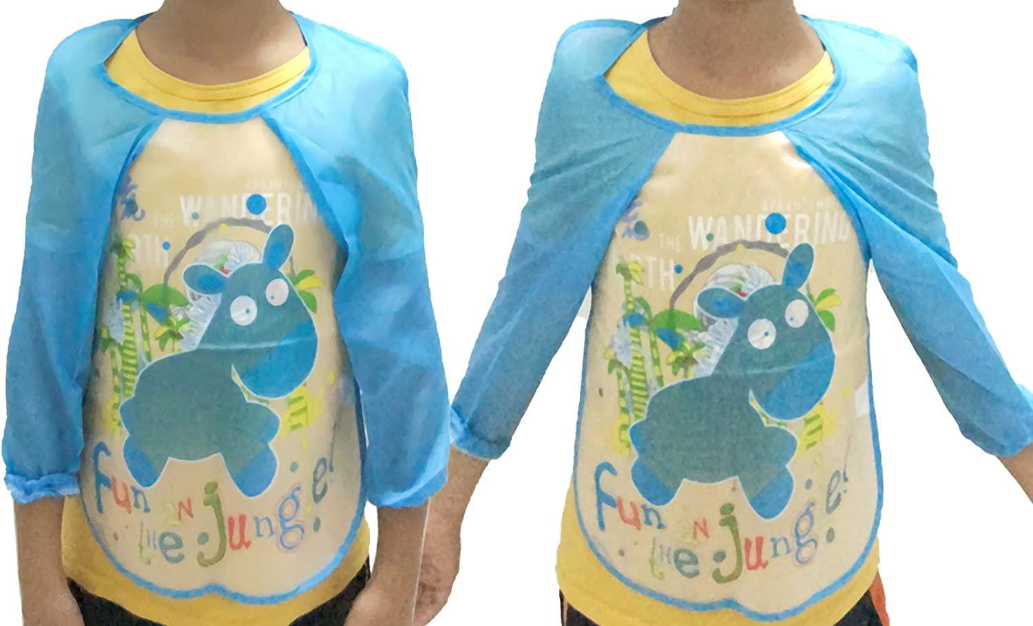 AUEAR 4 Pack Waterproof Kids Painting Aprons Baby Long Sleeve Painting Smock for Toddler Kids