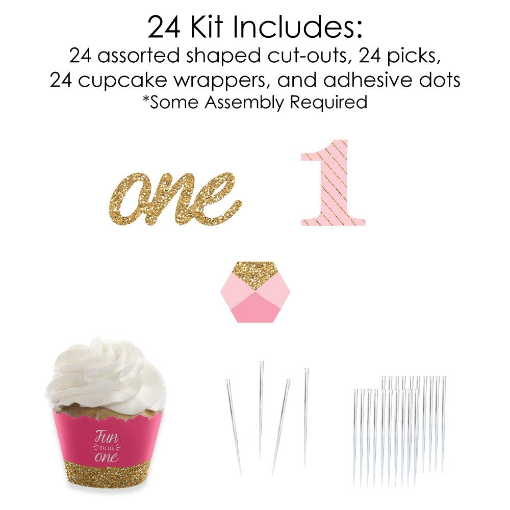 1st Birthday Girl - Fun to be One - Cupcake Decoration - First Birthday Party Cupcake Wrappers and Treat Picks Kit - Set of 24 by Big Dot of Happiness (Image #4)
