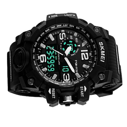 Magideal Skmei para Hombre Multifuncional Deportes Hora Dual analógico Digital Reloj de Pulsera Negro: Amazon.es: Relojes