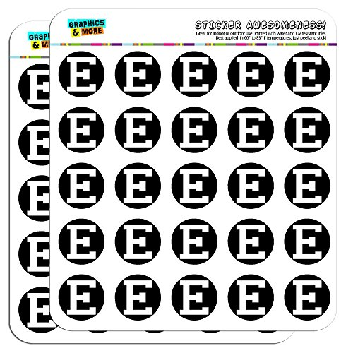 """Letter E Initial Black White 1"""" Planner Calendar Scrapbooking Crafting Stickers - Opaque"""