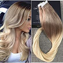 "Full Shine 20"" 20 Pcs 50 Gram Per Package Color #6 And Color #613 Blonde Ombre Extensions of Remy Tape in Hair Extensions"
