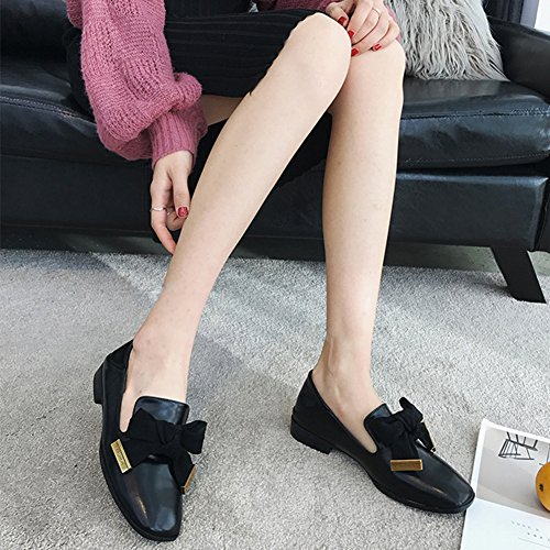 Comfy T Toe Bowknot Black JULY Shoes Casual Low Heel Retro Oxfords Women's Shoes Square wXXqzrRp