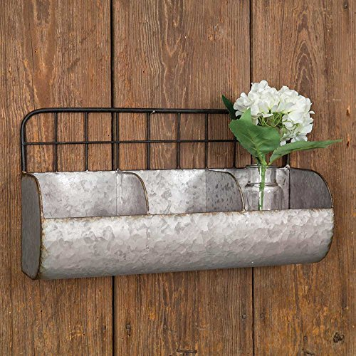 Industrial Farmhouse Chic Lg Divided Wire Wall Bin/Caddy (Wall Decor Galvanized Metal)