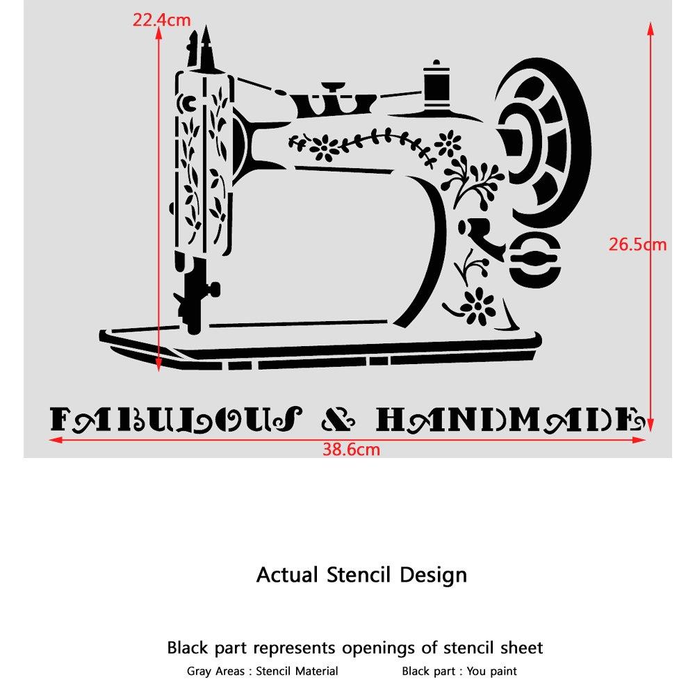 J BOUTIQUE plantillas para máquina de coser Vintage plantilla para Manualidades DIY pared muebles: Amazon.es: Bricolaje y herramientas