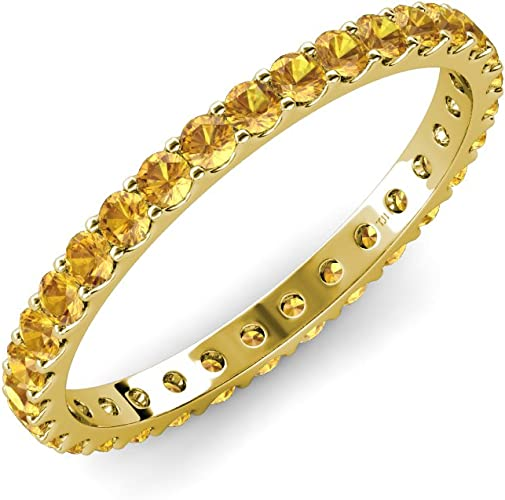 TriJewels Citrine U-Prong Eternity Band 1.69 ct tw to 1.93 ct tw in 18K Gold