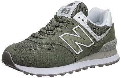 new balance women's 574 green white running shoes