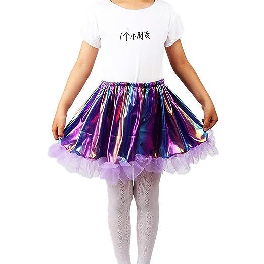 Vivianu - Falda de ballet para niña, plisada, volantes, purpurina ...
