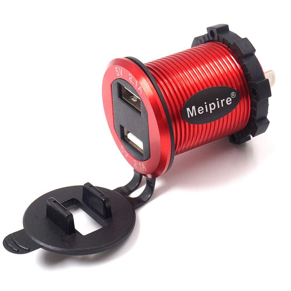 Meipire 4.2A Double prise de chargeur USB Prise de courant de voiture /étanche 5V2.1A /& 2.1A avec Voltm/ètre /à LED pour bateaux de voiture 12V 24V Marine Camion moto SUV UTV RV Bleu