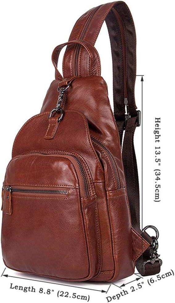 ZHANGYANTY Sacs Hommes Sling, bandoulière en Cuir véritable Coffre Sac à bandoulière Business Casual Sac à Dos Plein air Voyage Daypack Carry-on, Sac à Dos (Color : Brown) Brown