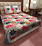 Home Candy Multi-Flowers 144 TC Cotton Double Bedsheet with 2 Pillow Covers - Multicolour