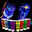 Blue Squid UV Glow in the Dark Face & Body Paint - 8 x 10ml Black Light Reactive Neon Liquid Paints