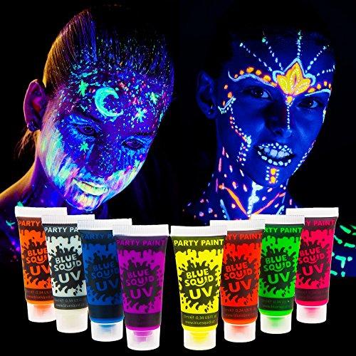 Blue Squid UV Glow in the Dark Face & Body Paint - 8 x 10ml Black Light Reactive Neon Liquid (Glow In The Dark Body Art)