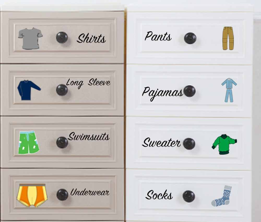 Amazon com easma boy decals dresser clothing decals labels dresser labels kids drawer stickers organizing decals home kitchen