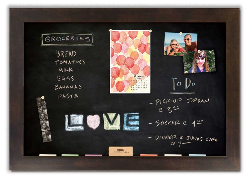 Magnetic Chalkboard with Espresso Frame
