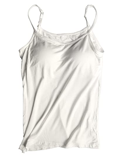 01841568ab Xudom Womens Cami Tank Tops with Built in Padded Bra Workout Basic Ribbed  White US 10
