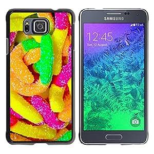 Qstar Arte & diseño plástico duro Fundas Cover Cubre Hard Case Cover para Samsung GALAXY ALPHA G850 ( Rubber Candy Colorful Sugar Sweets Neon)