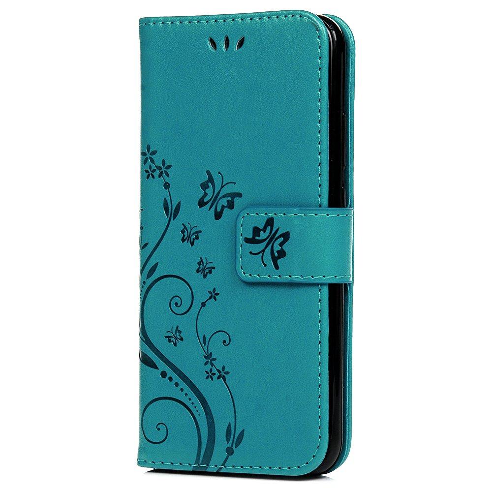 Tophung Huawei P20Lite Flip Case, Premium PU-Leder Notebook Schutzhülle Embossed Schmetterling mit Blumenmuster, ID-Kartenhalter, Soft-Folio Schutzhülle Hülle Schutzhülle für Huawei P20Lite rose