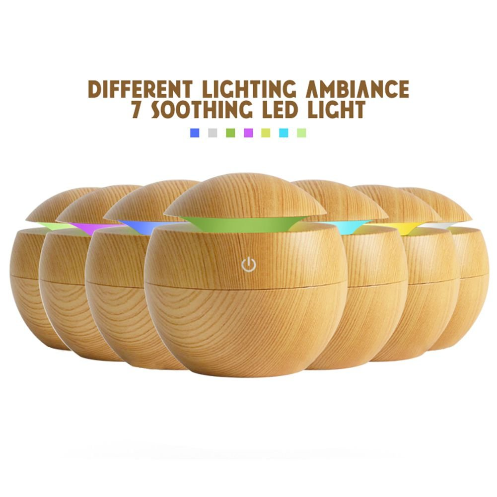 Toogoo USB Aroma Humidifier ESSential Oil Diffuser Ultrasonic Cool Mist Humidifier Air Purifier 7 Color Change LED Night light for Office Home:Light Wood by Toogoo (Image #7)