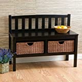 Southern Enterprises Distinct Style Versatile Bench Storage Baskets in Black Color