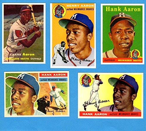 Hank Aaron (5) Card Topps Reprint Lot #1 (1954-1958 Cards) - Cards 1954 Football