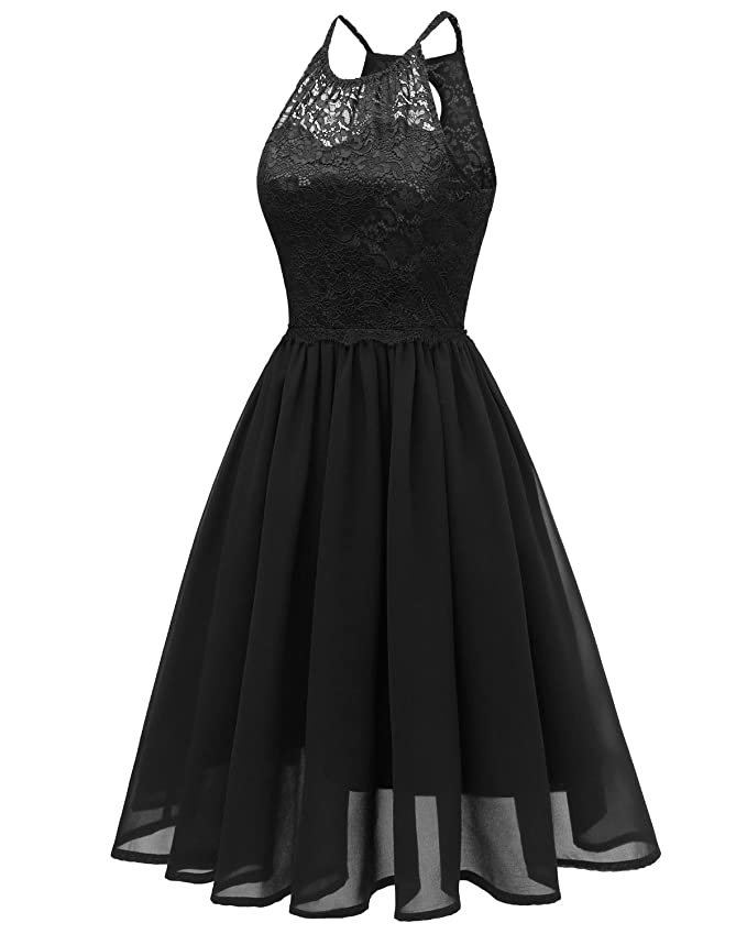 f72702ae36782 Sunvary Prom Cocktail Dresses Short Lace Chiffon Bridesmaid Open Back Dress  for 2018 Graduation Daily Summer Wear-M-Black at Amazon Women's Clothing  store: