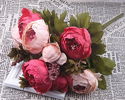 PIRAR European Vintage Artificial Peony Silk Autumn Simulation Flower Bouquet, Craft Fake Flowers Floral Decor Glorious Moral for Home Dining-Table Hotel Marriage Wedding Decoration (deep Pink)