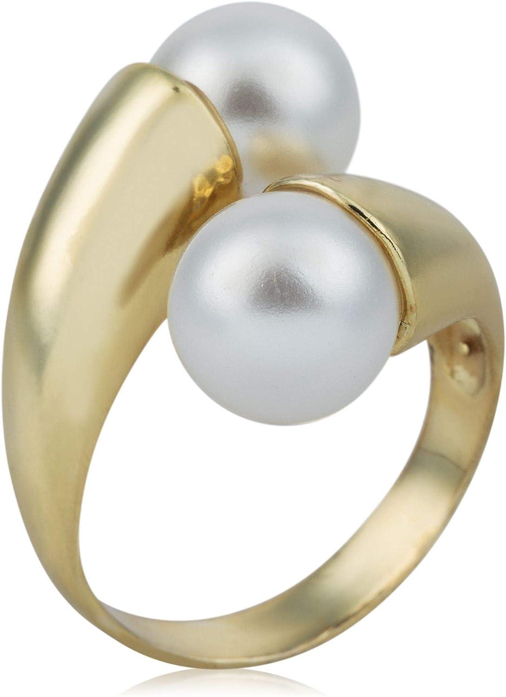 Córdoba Jewels | Anillos en Plata de Ley 925 bañada en Oro con diseño Tú y Yo Perla Gold