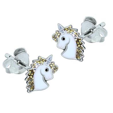 0b41d6d32 Sterling Silver Unicorn Earrings - Gold Glitter Gift: Amazon.co.uk:  Jewellery