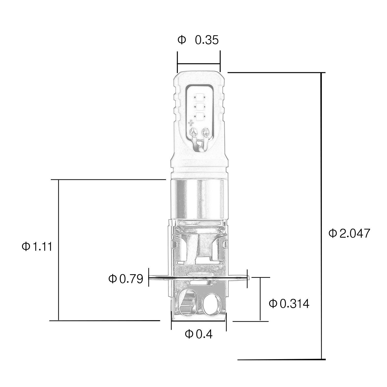 CICMOD LED Brake light Fog Lights H8W H9 H11 H16 PHI 30W 6500K Daytime Running DRL Driving Lamp White Pack of 2 JP