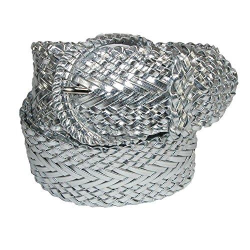 CTM Women's 2 Inch Wide Adjustable Braided Belt, Medium, Silver