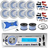 36-42 Boat: Pyle Bluetooth Marine Receiver, 8 X Pyle 6.5 Waterproof White Speakers w/ LED, Pyle 8 Channel Boat Amplifier, 2x Amp Install Kit, 18 Gauge 100 FT Speaker Wire, Pyle Antenna