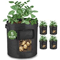 JUSTGROW™ 5 Pack 10 Gallon Large Potato Grow Bags with Viewing Window and Free Claw Garden Gloves. Premium Reinforced…