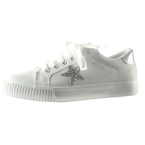 Sneaker Strass Moda Scarpe Tacco Angkorly Stella Ricamo Donna PuTkXZiO