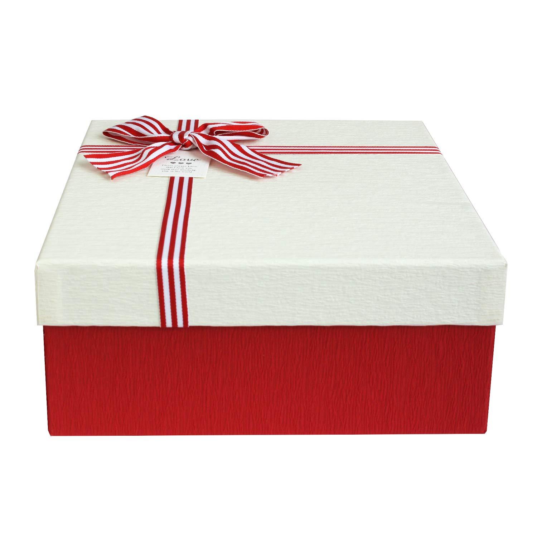 Scatola di Borgogna Testurizzata Con Coperchio Color Crema Interni Color Cioccolato e Nastro Necorativo Satinato Emartbuy Set di 2 Lusso Rigido Confezione Regalo 23,5cm x 23,5cm x 10cm