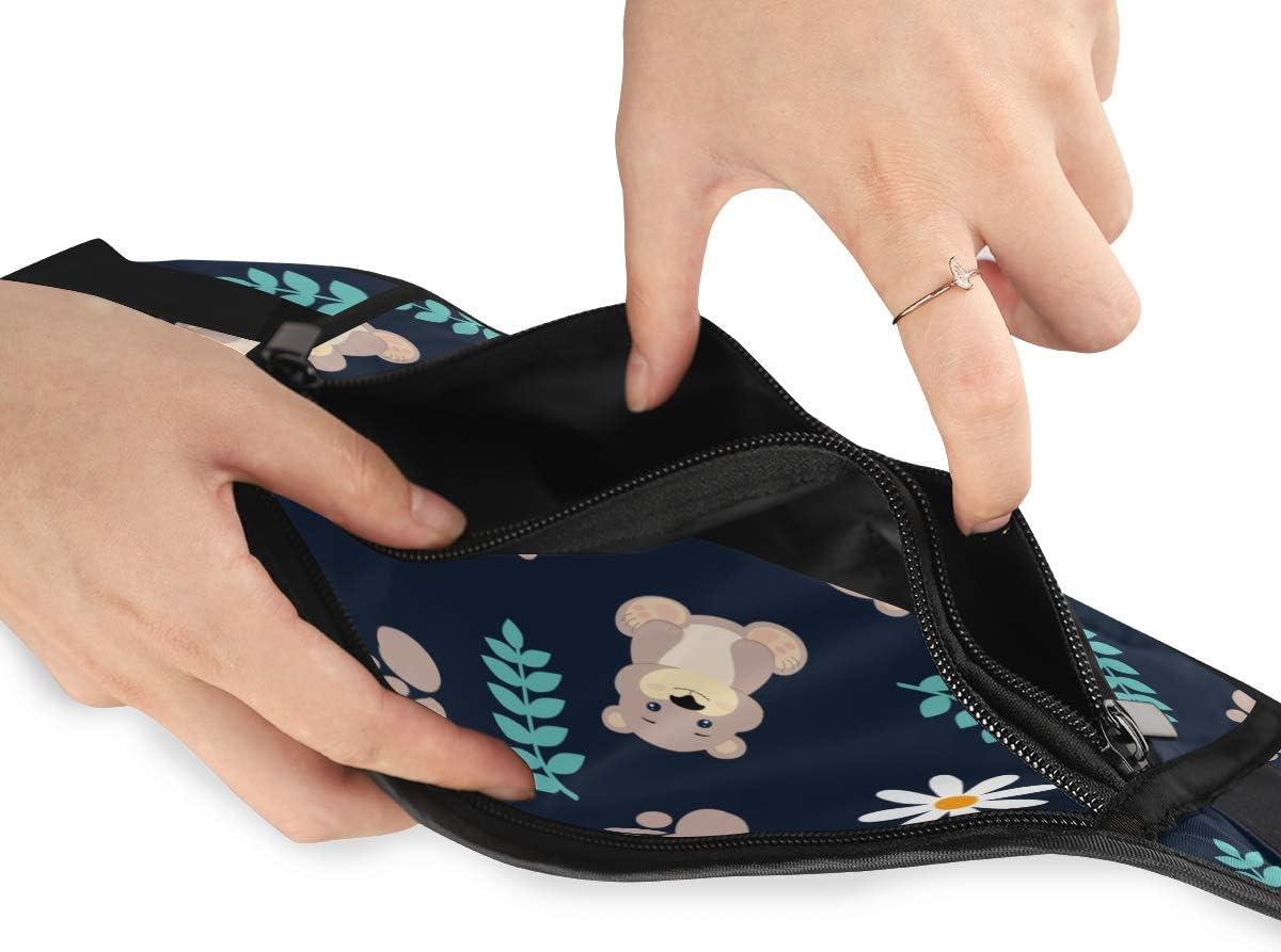 Travel Waist Pack,travel Pocket With Adjustable Belt Cute Animal Cartoon Animal Bear Running Lumbar Pack For Travel Outdoor Sports Walking
