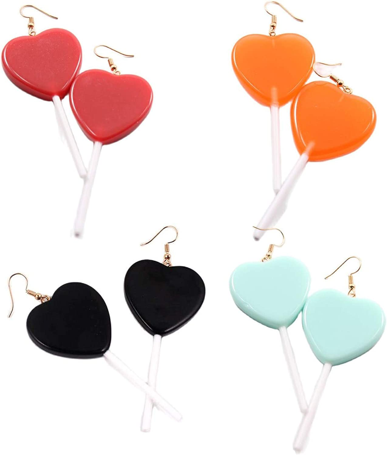 4 Pairs Cute Resin Heart-shaped Lollipop Drop Earring Handmade Candy Color Simulation Food Dangle Earring Trendy Style Multicolor Candy Acrylic Earrings for Women Girl Children Funny Jewelry-Deep