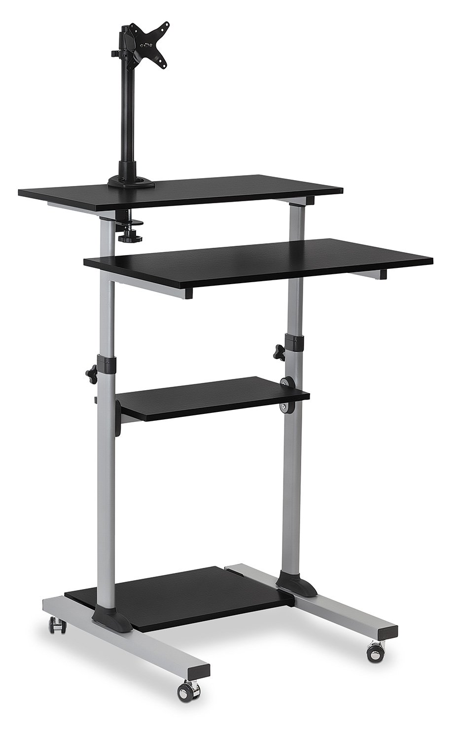 Mount-It! Mobile Stand Up Desk / Height Adjustable Computer Work Station Rolling Presentation Cart With Monitor Arm (MI-7942)
