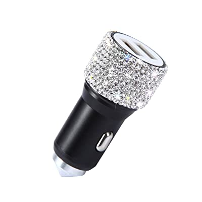 Bling Dual USB Car Charger Handmade Rhinestones Crystal Car Decorations, bling car accessories, Fast Charging Car Decors for iPhone XS X 8 7 6s 6 Plus, Samsung Galaxy Note9/8/S9/S9+, LG, HTC: Automotive [5Bkhe1401871]