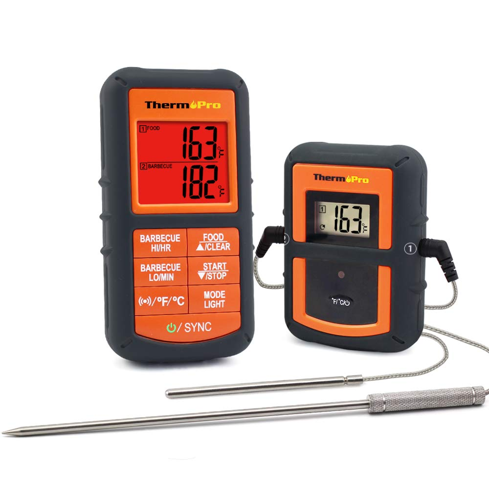 ThermoPro TP08 Wireless Remote Digital Kitchen Cooking Meat Thermometer - Dual Probe for BBQ Smoker Grill Oven - Monitors Food from 300 Feet Away TP-08S