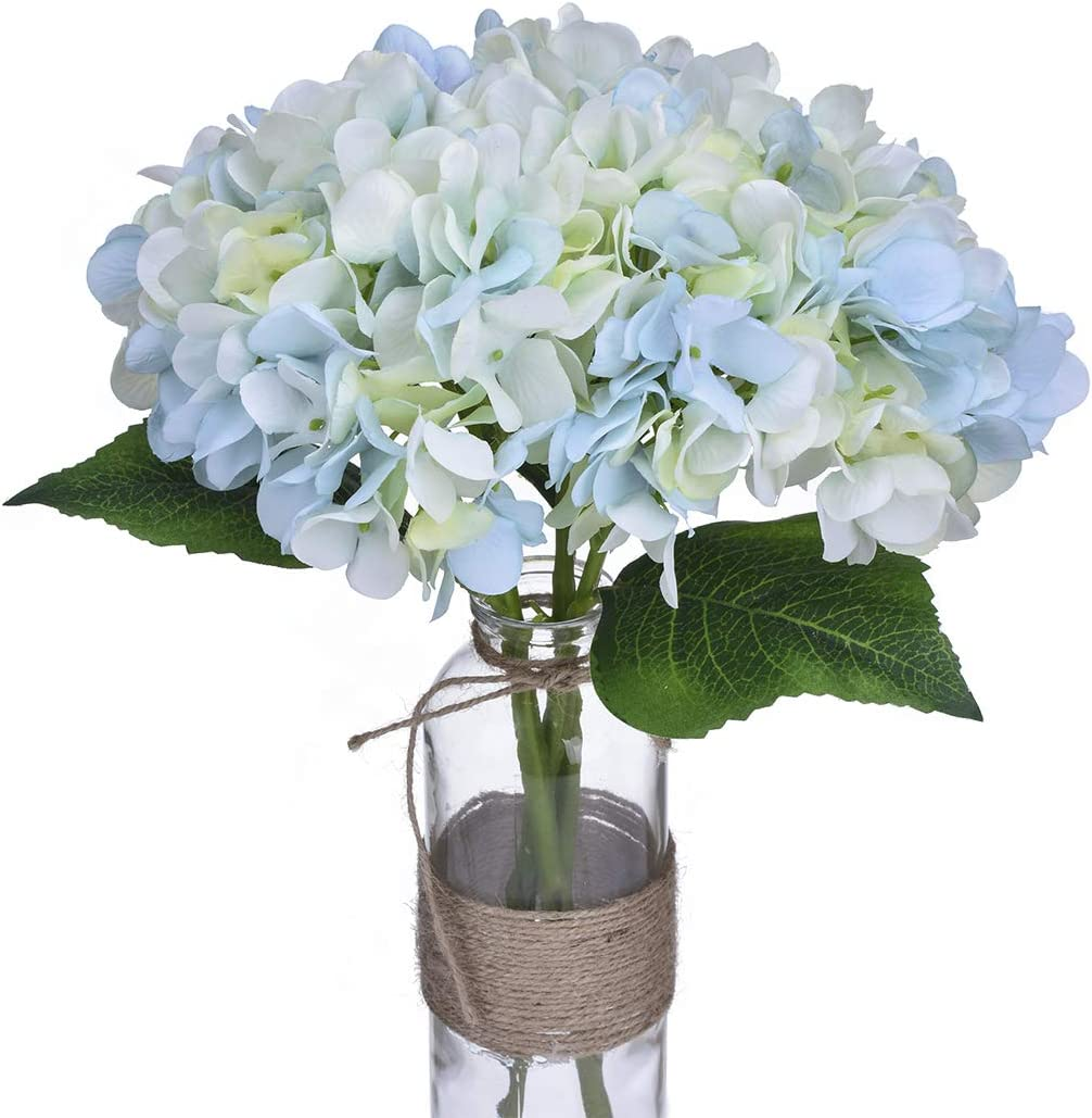 Artificial Flowers of Blue Hydrangea for Wedding Party Decorations Bridal Bouquets Farmhouse Kitchen and Living Room Arrangements or as Wall Decor for The Office Fake Plants with Real Touch Floral