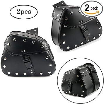 Pair Motorcycle Leather Black Saddlebags Saddle tools Bags Panniers Luggage Bag