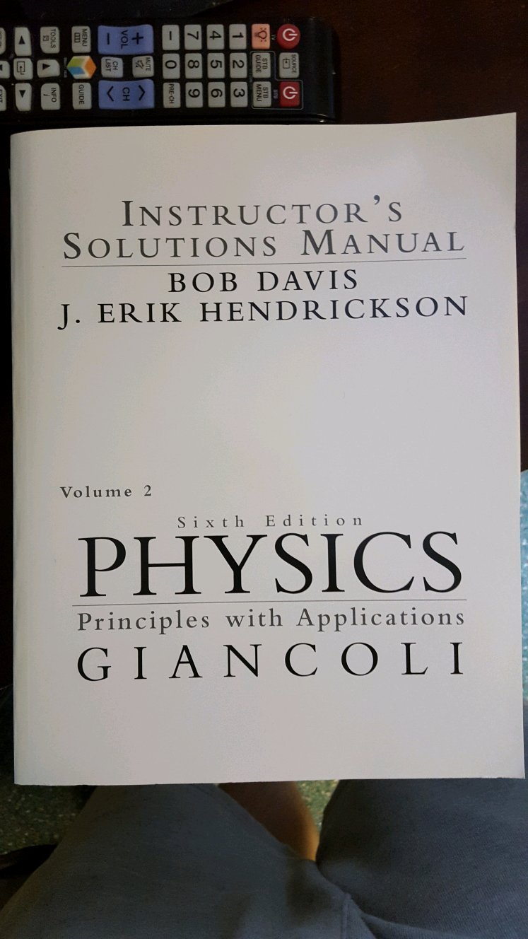 Physics: Principles with Applications Volume 2 : Instructor's Solutions  Manual 013141545x 9780131415454: Giancoli: 9780021188796: Amazon.com: Books