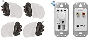 """Pyle 8"""" 4 Bluetooth Flush Mount in-Wall in-Ceiling 2-Way Speaker System & Tweeter Stereo Sound 4 Ch Amplifier 250 Watt (PDICBT286) & Bluetooth Receiver Wall Mount - in-Wall Audio Control Receiver"""