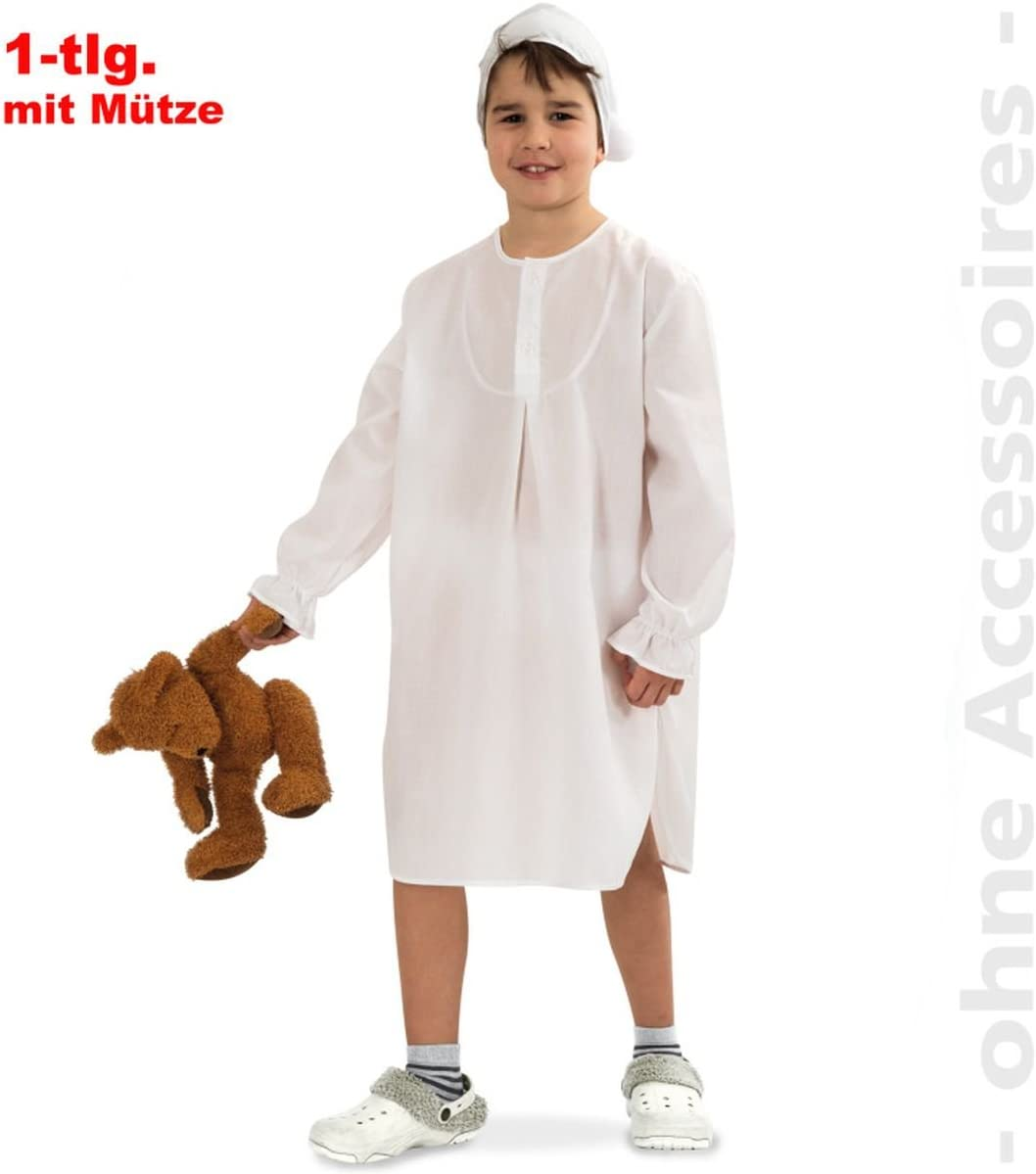 Disfraz para niños de camisón de dormir con gorro, 104/116 - 152/164