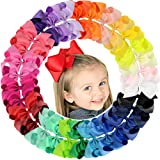 30Pcs 6 Inch Large Grosgrain Ribbon Baby Girls Hair Bows Barrettes Clip Holders Accessories For Toddler Teens Girls (Color: 30 Pcs)