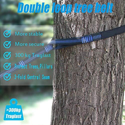 Camping Hammock, Double & Single Portable Hammocks with Tree Straps, Lightweight Nylon Parachute Hammocks for Hiking Travel Backpacking Beach Yard Gear | 2 x Premium carabiners, 2 x Nylon Loops