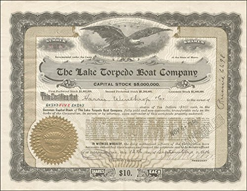 Lake Torpedo Boat Company - Stock Certificate Signed 09/12/1916 co-signed By: Herbert S. Miller