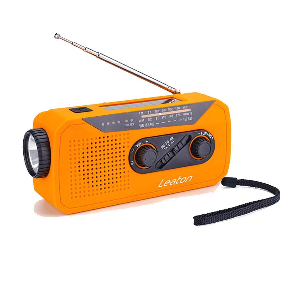 Emergency NOAA Weather Radio Solar Crank WB/AM/FM Radios with LED Flashlight, Earphone Jack, Charge Indicator, 2000mAh Power Bank Phone Charger