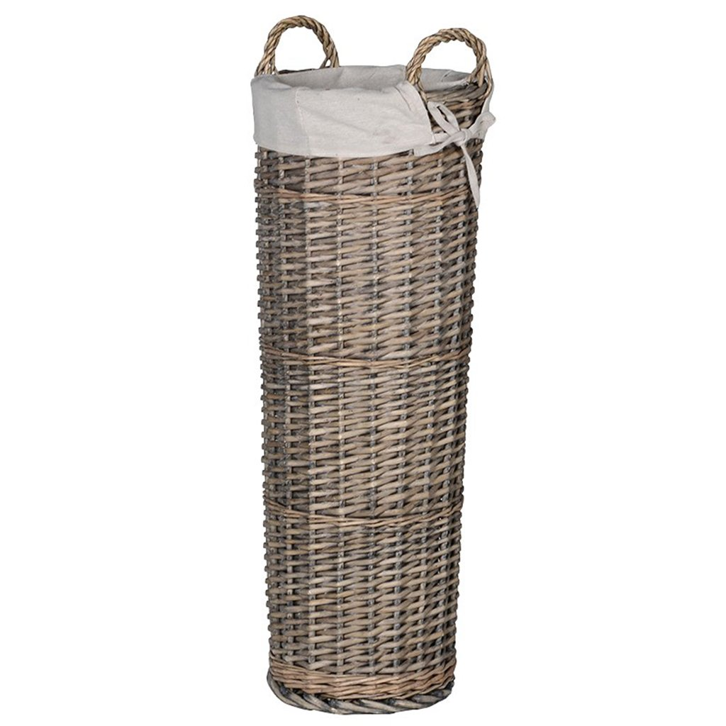 Rustic Style Hand Woven Wicker Umbrella Stand - Distressed Finish Umbrella Holder with Off White Cotton Lining - Perfect Accessory for French Country, Farmhouse and Traditionally Styled Homes - Delightful Gift Idea for Wedding, Anniversary or Housewarming
