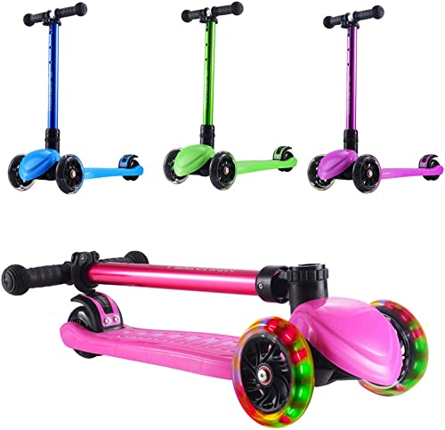 Playshion Foldable 3 Wheels Kick Scooter for Kids Toddlers Girls or Boys with Adjustable Height and LED Flashing Light up Wheels